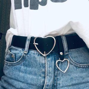 Silver Heart shape buckle Belt